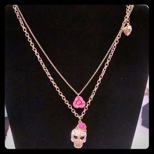Betsy Johnson Skull & Roses Necklace